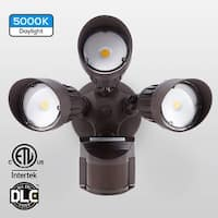 30W 3-Head Motion Activated LED Outdoor Security Light, 5000K, Bronze