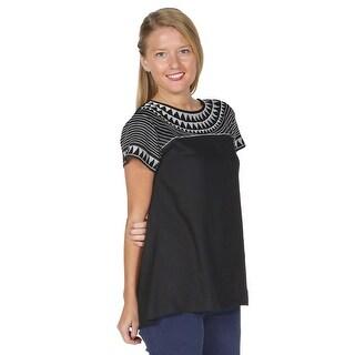 Women's Long Tunic Top - Geo Embroidered Short Sleeve Shirt