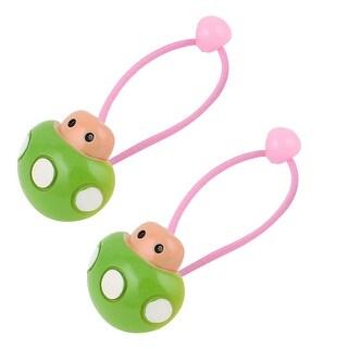 Mushroom Bead Decor Elastic Hair Ties Rubber Bands Ponytail Holder Green Pink Pair