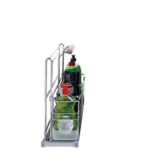 """Richelieu 5151 PORTERO 6-3/8"""" Wide Under Sink Pull Out Organizer with 1 Basket and Soft Close Slides - CHROME"""