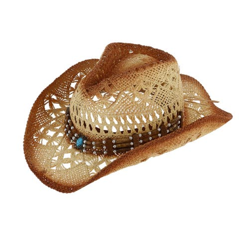 40f0ffa8 Jacobson Hat Company Women's Design Weave Western Hat with Decorative Beads