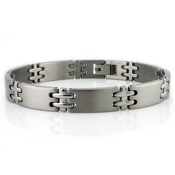 Stainless Steel Double Cross Link Bracelet - 8.5 inches