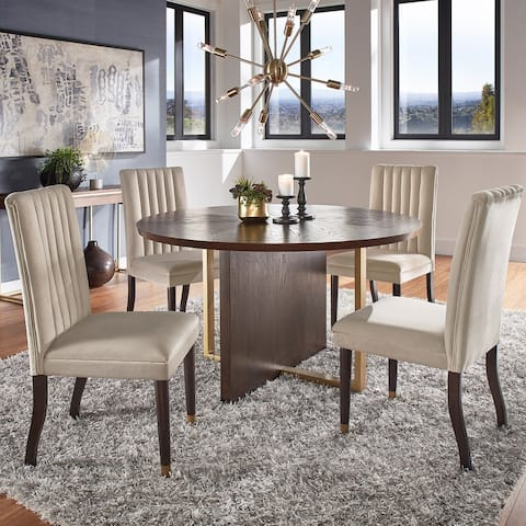 Andrea Espresso and Velvet 5-Piece Dining Set by iNSPIRE Q Modern