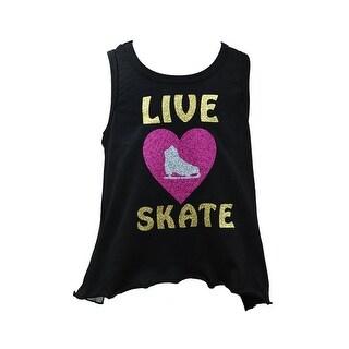 """Reflectionz Little Girls Black Gold """"Live Heart Skate"""" Glitter Mesh Tank 4-6"""