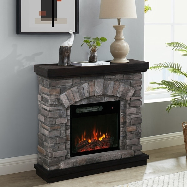 36-inch Wide Faux Stone Electric Fireplace Mantel. Opens flyout.