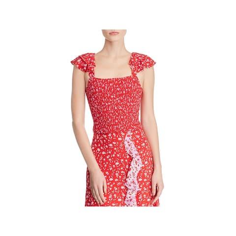 Parker Womens Katia Crop Top Smocked Floral - Red