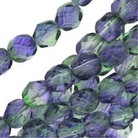 Czech Fire Polished Glass Beads 6mm Round Two Tone Blueberry/Green Tea (25)