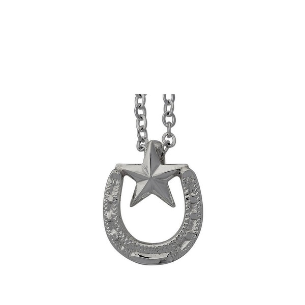 "Bar V Western Women Necklace Horseshoe Star 3/4"" Silver 316-0610"