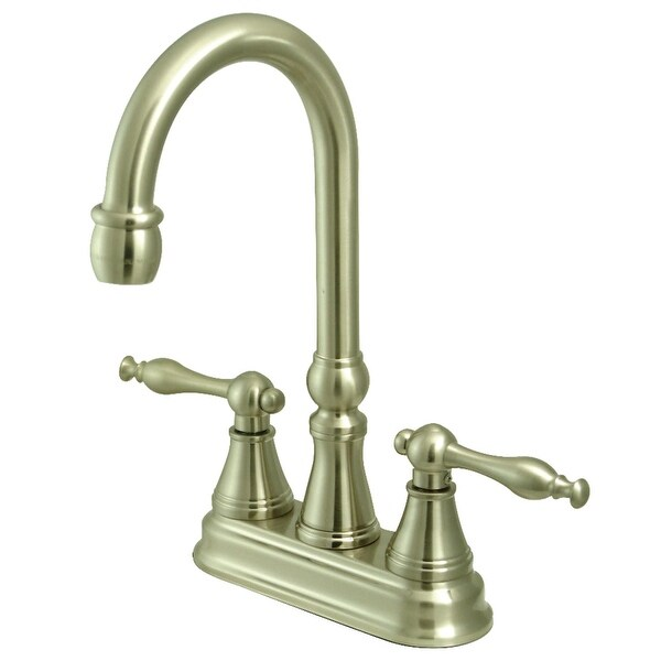 """Kingston Brass KS249.NL Naples Deck Mounted 10-1/4"""" Tall Double Handle Bar Faucet with Lever Handles"""