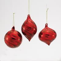 Club Pack of 12 Red Glass Ball, Finial and Onion Swirl Christmas Ornaments 3.5""