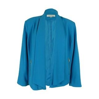 Calvin Klein Women's Plus Size Shawl-Collar Flyaway Jacket - Cerulean - 18W