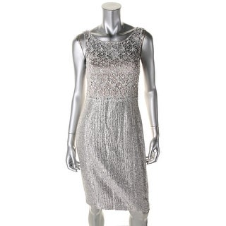 Kay Unger Womens Metallic Sleeveless Cocktail Dress - 2