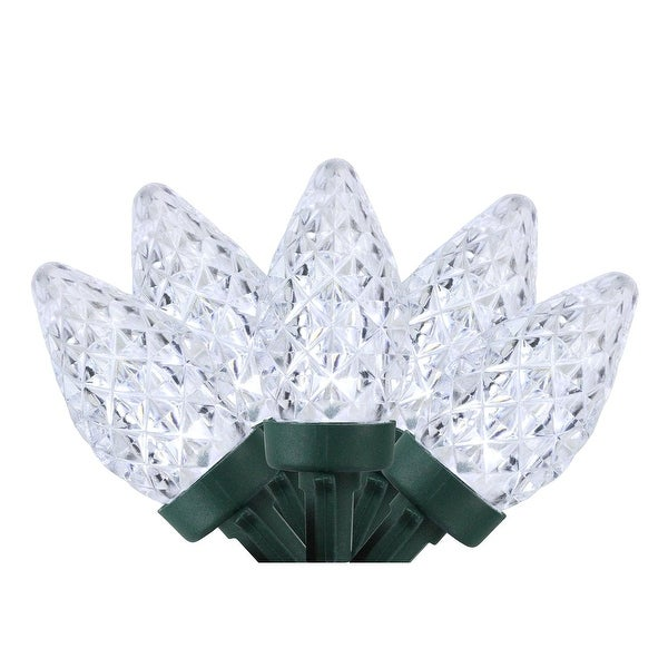 Set of 100 Pure White Faceted LED C7 Christmas Lights - Green Wire