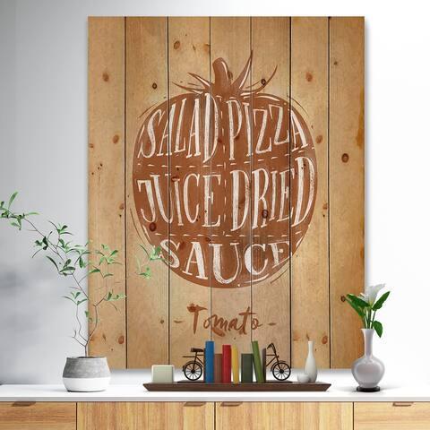 Designart 'Tomato cutting scheme craft' Farmhouse Food Print on Natural Pine Wood - Brown