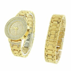 Womens Watch Set With Bracelet Iced Out Lab Diamonds Gold Finish Analog Display
