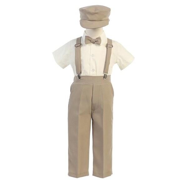 Little Boys Khaki Suspender Pants Hat Outfit Set 2T-6