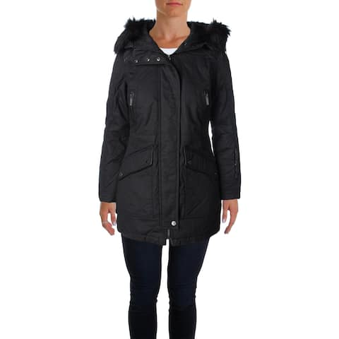 French Connection Womens Parka Coat Mixed Media Hooded