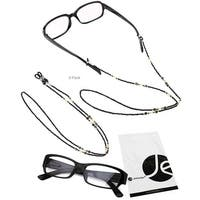 JAVOedge 2 Pack of Black Beaded Decorative Eyeglasses/ Glasses Lanyards / Neck Chain