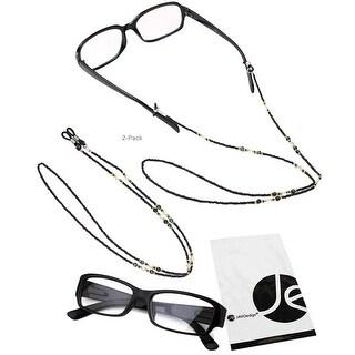 JAVOedge 2 Pack of Black Beaded Decorative Eyeglasses/ Glasses Lanyards / Neck Chain