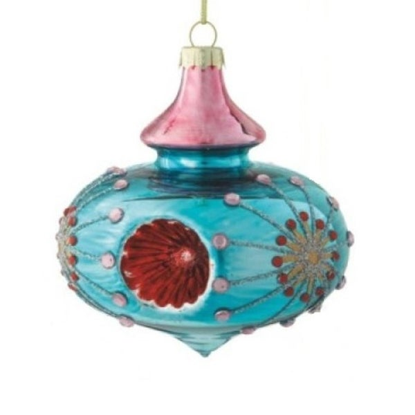 "Shiny Light Aqua Marine Floral Witches Eye Christmas Onion Glass Ornament 3.5"""