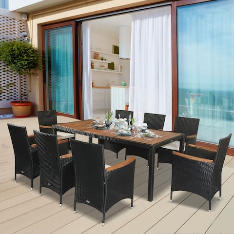 Outsunny 9 PCS Outdoor Patio Dining Sets, Garden PE Rattan Wicker Furniture w/Acacia Wood Table Top and Water-Proof Cushions