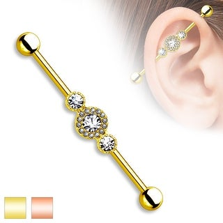 Three Center Multi Pave CZ Circle Surgical Steel Industrial Barbell - 14GA (Sold Ind.)
