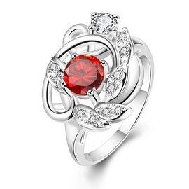 Petite Ruby Red Floral Design Ring