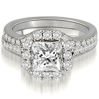 1.17 CT.TW Halo Princess And Round Cut Diamond Bridal Set in 14KT - White H-I
