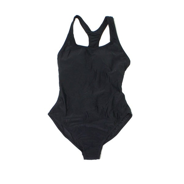 b2255daa42f8d Shop Zeraca Deep Black Womens Size 6 Racerback One-Piece Swimsuit - Free  Shipping On Orders Over  45 - Overstock.com - 27000335