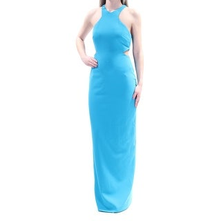 CALVIN KLEIN Womens Blue Cut Out Sleeveless Jewel Neck Full Length Sheath Prom Dress Size: 2