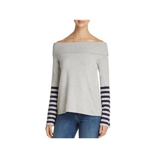 Marled Reunited Clothing Womens Pullover Sweater Striped Off-The-Shoulder