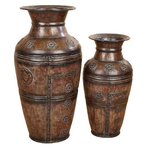 Aspire Home Accents 75714 Embossed Floor Vases (Set of 2)