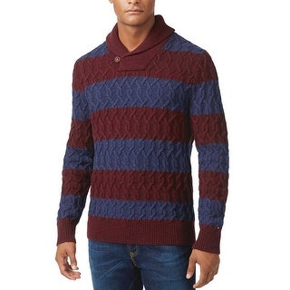 Tommy Hilfiger Shawl Collar Cable Knit Striped Sweater Burgundy and Blue Small S