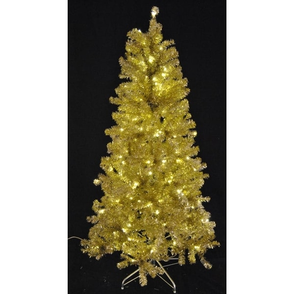 Christmas at Winterland WL-TTR-09-GO/SLV-LWW 9 Foot Tinsel Pre-Lit Christmas Tree Warm White LED Gold and Silver