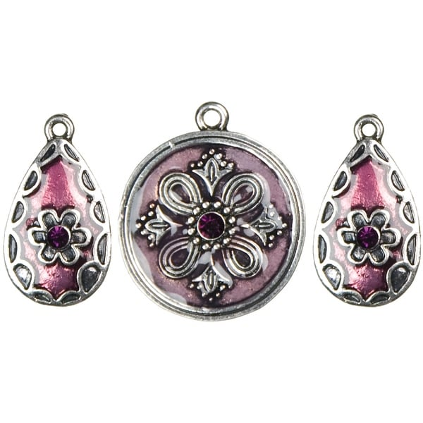 Jewelry Basics Metal Accents-Silver & Purple Round & Teardrops 3/Pkg - Silver