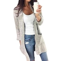 Women's Long Sleeve Solid Color Knitted Sweater Cardigan