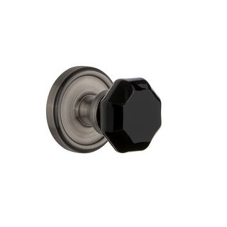 "Grandeur GEOLYO_PSG_238  Georgetown Solid Brass Rose Passage Door Knob Set with Lyon Black Crystal Knob and 2-3/8"" Backset"