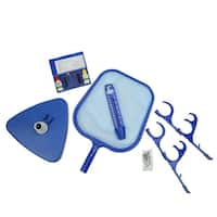 5-Piece Deluxe Swimming Pool Kit - Vacuum, Skimmer,  Hose Hooks, Thermometer and Test Kit - Blue