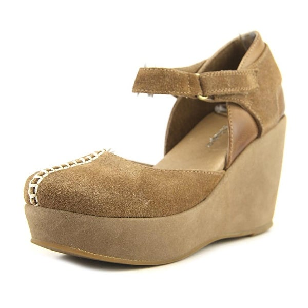 5c13c80bb9 Shop Antelope 830 Mary Janes Women Open Toe Suede Brown Wedge Sandal ...
