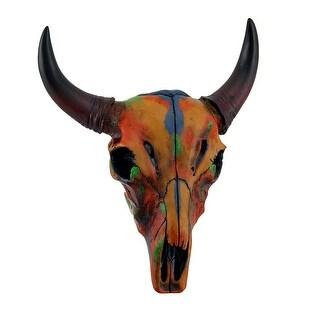 Colorful Orange Tie Dye Steer Skull Wall Hanging