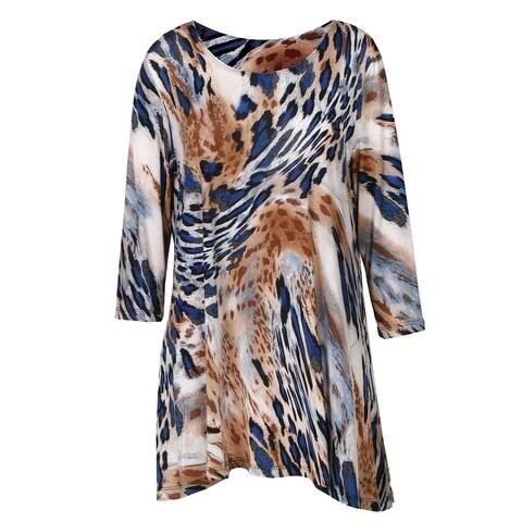 Women's Tunic Top - 2-Pocket Animal Print Swing Shirt - Tan Leopard