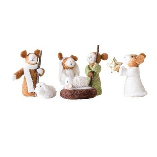 Creative Co-op Mouse Nativity Scene, Felted Wool Mice 6-Piece Set Christmas Holiday Decor Decoration - 5 in.