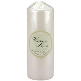"Victoria Lynn Pillar Candle 3""X8""-Pearlescent White"