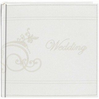 489097 Embroidered Scroll Leatherette White Photo Album -Holds