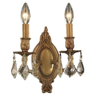 """Worldwide Lighting W233019 Windsor 2 Light 9"""" Wide Wall Sconce with Crystal Acce"""