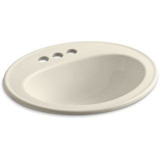 "Kohler K-2196-4 Pennington 16"" Drop In Bathroom Sink with 3 Holes Drilled and Overflow"