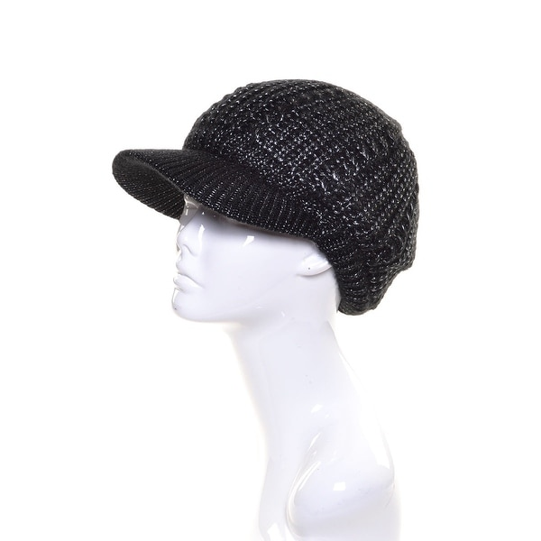 Womens Metallic Beanie Visor Lined