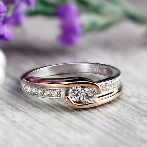 Auriya 14k Two-tone Gold 1/2ctw Round Two-stone Diamond Engagement Ring