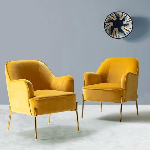 Nora Accent Chair with gold legs, Set of 2