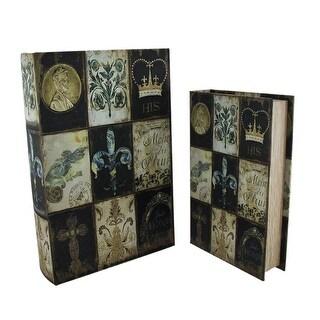 2 Piece Vintage Finish French Theme Book Look Storage Box Set